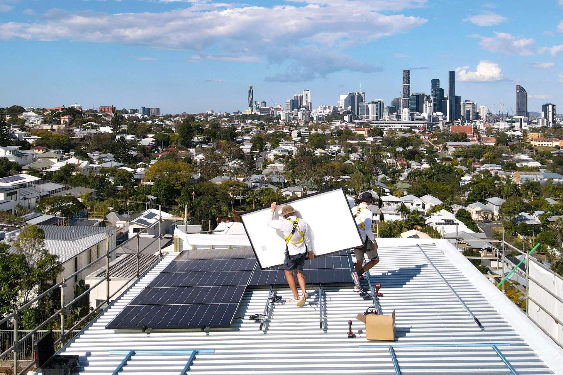 Paramount Energy team installing solar system on Skyline by Graya in Brisbane